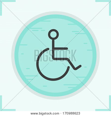 Wheelchair color icon. Invalid wc door sign. Disabled. Isolated vector illustrations