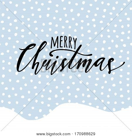 Vector Merry Christmas Illustration With Seamless Pattern With Falling Snow And Hand Drawn Lettering