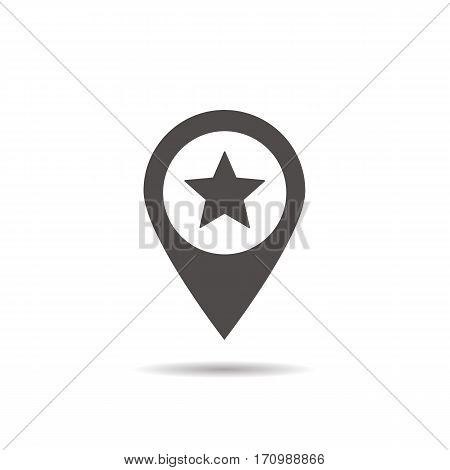 Star mark inside pinpoint icon. Drop shadow silhouette symbol. Favorite place location. Vector isolated illustration