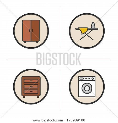 Furniture color icons set. Washing machine, dresser, wardrobe and ironing board. Isolated vector illustrations
