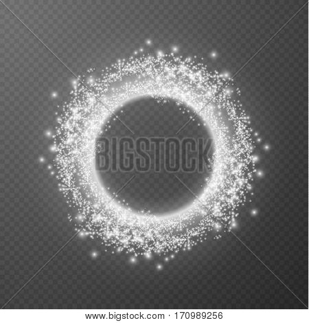 Shining ring on checkered layer vector effect background.
