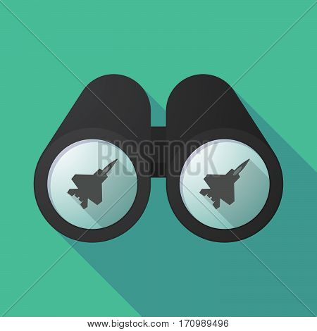 Long Shadow Binoculars With A Combat Plane
