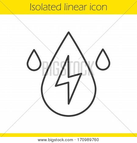 Water energy linear icon. Thin line illustration. Hydroelectric station contour symbol. Vector isolated outline drawing
