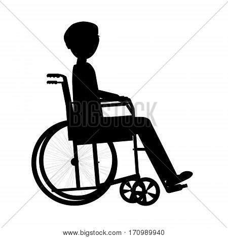 Disabled man in a wheelchair medical health concept silhouette illustration background vector.