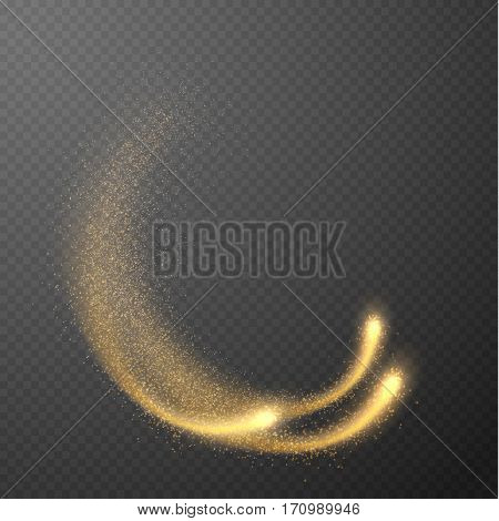 Shining comets with particle dust trail on checkered background. Vector eps10