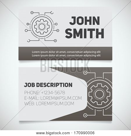 Business card print template with cogwheel logo. Easy edit. Manager. Cyber engineer. Technician. Stationery design concept. Vector illustration