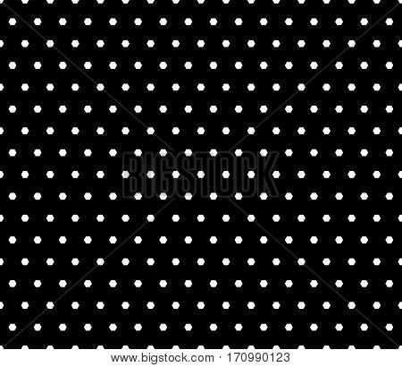 Vector monochrome seamless pattern, simple geometric texture with little hexagons, abstract black & white background. Dark minimalist repeat backdrop. Design element for prints, textile, decoration, book cover, wrapping, digital