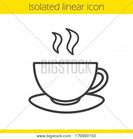 Tea cup linear icon. Thin line illustration. Hot steaming coffee cup on plate. Contour symbol. Vector isolated outline drawing