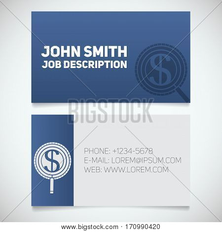 Business card print template with money search logo. Easy edit. Businessman. Investor. Stationery design concept. Vector illustration