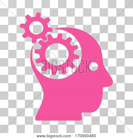 Intellect Gears icon. Vector illustration style is flat iconic symbol pink color transparent background. Designed for web and software interfaces.