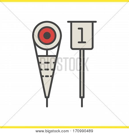 American football sideline markers color icon. Isolated vector illustration