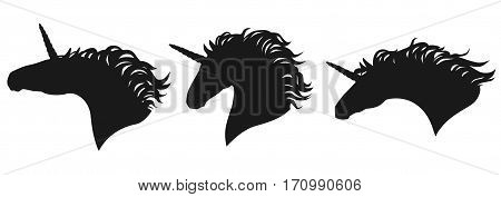 Vector unicorn head silhouettes set. Isolated group of a unicorns heads black on white