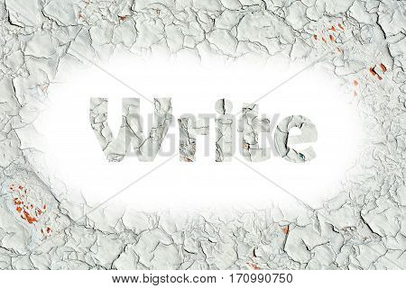 Write Word Print On The Old Wooden Plate