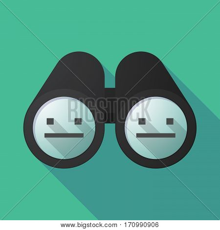 Long Shadow Binoculars With A Emotionless Text Face