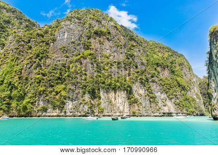 Tropical island Phi-Phi in Thailand. Archipelago in the  most beautiful in the world attracts millions of tourists