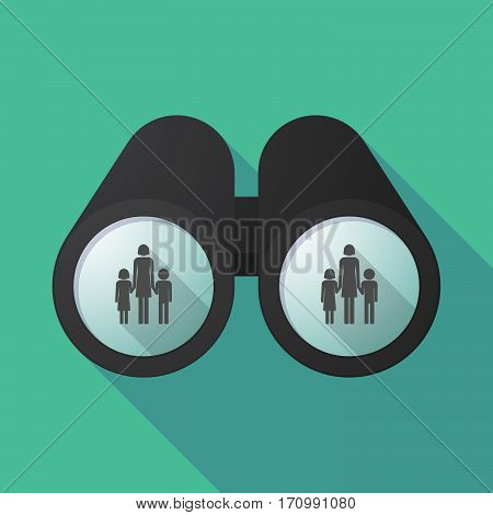 Long Shadow Binoculars With A Female Single Parent Family Pictogram