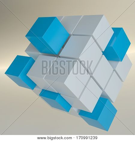 Abstract background with cubes and glowing line. 3D illustration. Template for your design