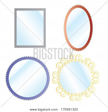 Vector mirrors set with blurry reflection. Mirror frames or mirror decor interior vector illustration.