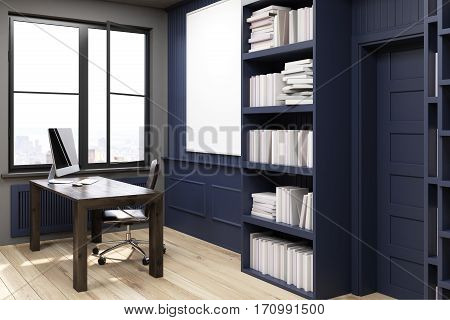 Side view of a home library with bookshelves by the sides of a door and a brown table with computer. There is a chair near it. Black walls. 3d rendering. Mock up.