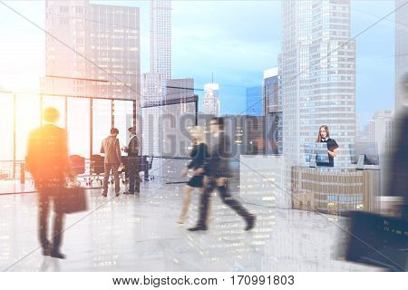 People wearing suits are going to their workplaces in the morning. Office hall with a glass wall a meeting room and a reception counter. 3d rendering. Mock up. Toned image. Double exposure.