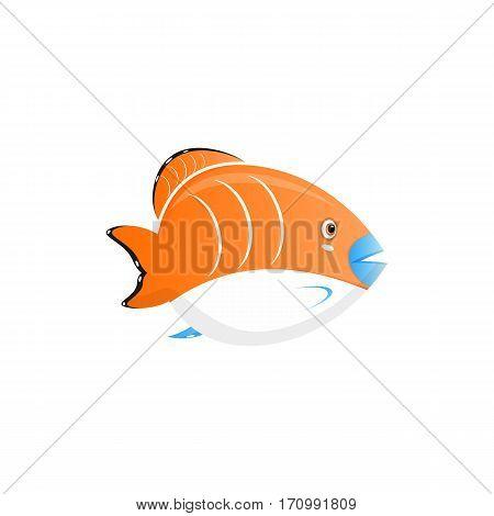 tropical fish vector illustration. Vector sea fish isolated on white background. Funny cartoon aquarium fish icon