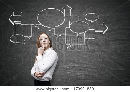 Portrait of a pensive blond woman with her hand near the chin standing near a blackboard with a flow chart drawn on it.
