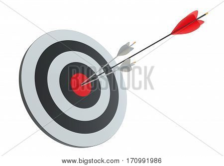 Arrows in archery target. Isoalted on white. 3D Rendering