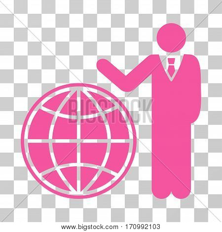 Planetary Manager icon. Vector illustration style is flat iconic symbol pink color transparent background. Designed for web and software interfaces.