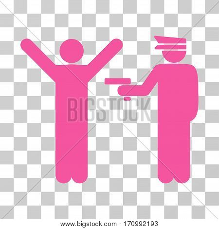 Police Arrest icon. Vector illustration style is flat iconic symbol pink color transparent background. Designed for web and software interfaces.