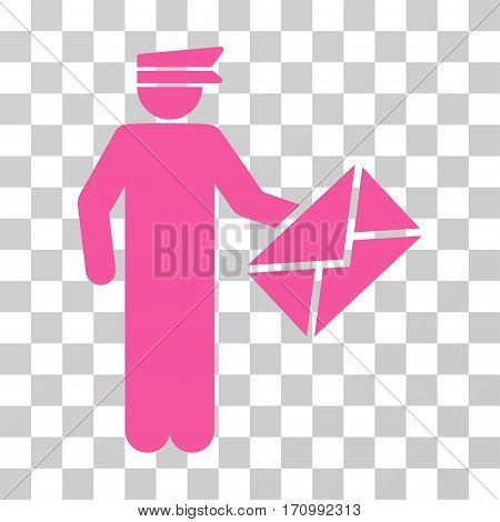 Postman icon. Vector illustration style is flat iconic symbol pink color transparent background. Designed for web and software interfaces.