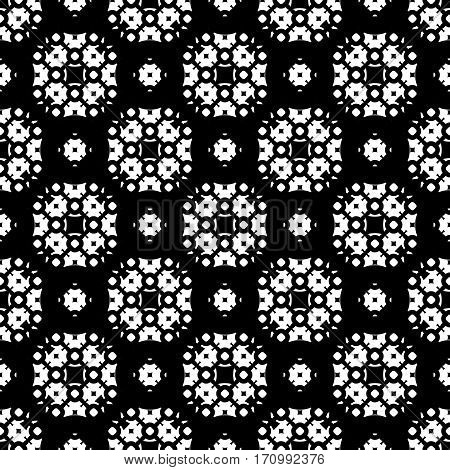 Vector seamless pattern, ornamental monochrome geometric texture. Black & white abstract background, traditional motif, oriental style. Repeat mosaic tiles. Design for prints, decoration, textile, furniture, fabric, digital, web