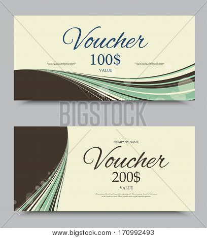 Gift company voucher template on two and one hundred dollars with vintage green wavy elegant lines pattern. Vector illustration
