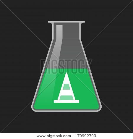 Isolated Test Tube With A Road Cone