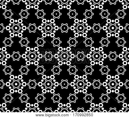 Monochrome seamless pattern. Black & white vector abstract ornamental texture. Dark ornate background with simple geometric figures. Illustration of lace, delicate, hexagonal grid. Design for prints, decoration, textile, furniture, wrapping, digital, web