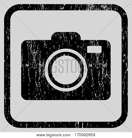 Photo Camera rubber watermark. Vector pictogram symbol inside rounded rectangle with grunge design and scratched texture. Stamp seal illustration. Unclean black ink sign on a light gray background.