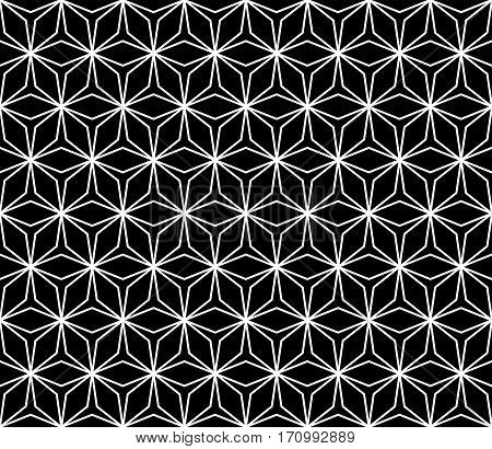Vector monochrome seamless pattern, simple ornamental background, repeat geometric tiles, black & white linear lattice. Abstract dark endless texture. Design element for prints, decoration, textile, cloth, fabric, furniture, digital, web