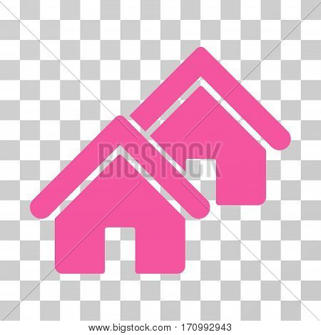 Realty icon. Vector illustration style is flat iconic symbol pink color transparent background. Designed for web and software interfaces.