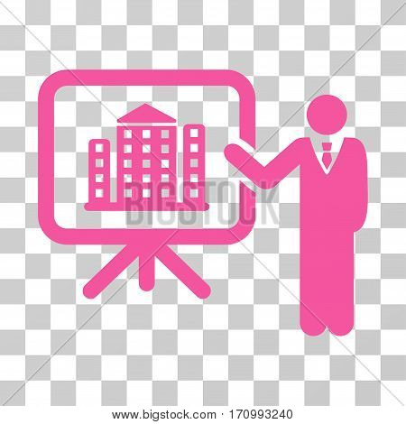 Realty Presention icon. Vector illustration style is flat iconic symbol pink color transparent background. Designed for web and software interfaces.