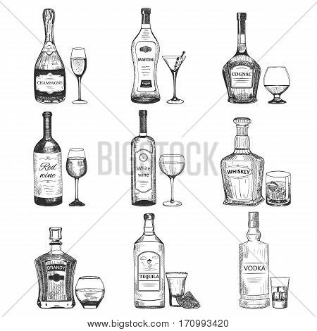 Creative sketch of alcohol drinks. Vector illustration with graphic silhouette of bottles and goblets. Set used for advertising beverage in restaurant, pub menu, for poster or banner design.