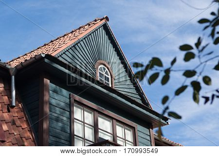 Nice detail of some old wooden house in Zverynas residential district in Vilnius Lithuania
