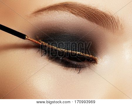 Beautiful Macro Shot Of Female Eye With Ceremonial Makeup