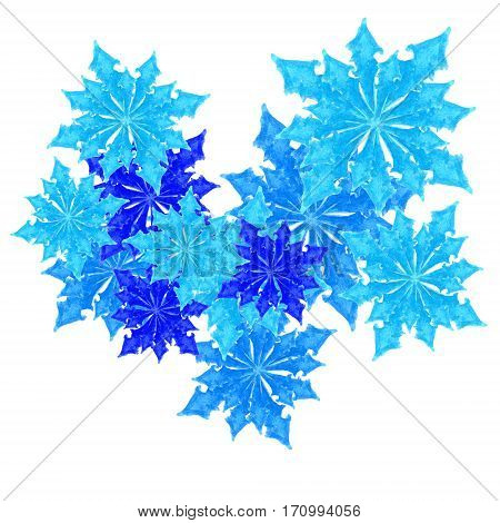 blue hand drawn leaves in a form of snowfakes