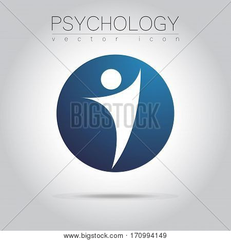 Modern man Sign of Psychology. Human in a circle. Creative style. Icon in vector. Design concept. Brand company. Blue color isolated on grey background. Symbol for web, print, card,