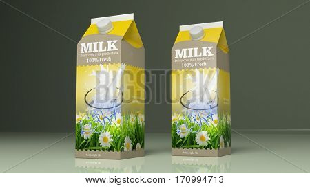 Light milk carton boxes on colored background. 3d illustration