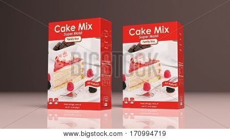 Cake mix paper packages on colored background. 3d illustration