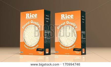 Rice paper packages on colored background. 3d illustration