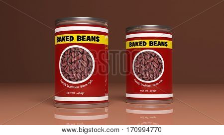 Baked beans metallic cans on colored background. 3d illustration