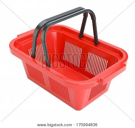 Red shopping basket. 3D rendered illustration. Isolated on white