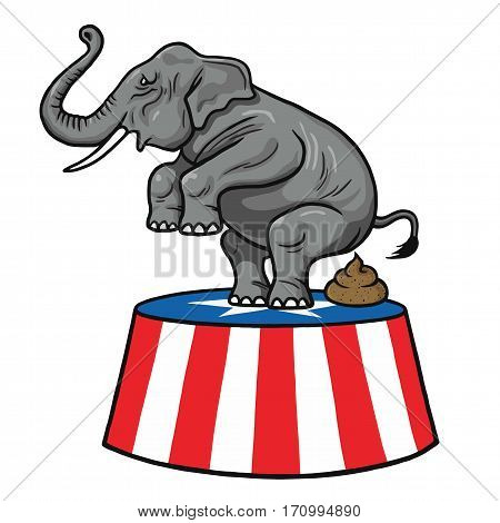 American Republican Party GOP Elephant Vector Cartoon Illustration. February 13, 2017