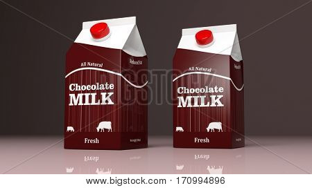 Choco milk carton boxes on colored background. 3d illustration